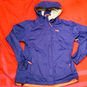 Helly Hansen indigo and coral spring jacket windbreaker. Size Lg